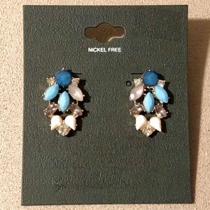 Studded Earrings Blue/Clear/White